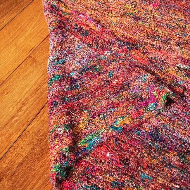 カラフルシルクスレッド 色彩豊かな手編みラグ 7 - 裏面の写真です