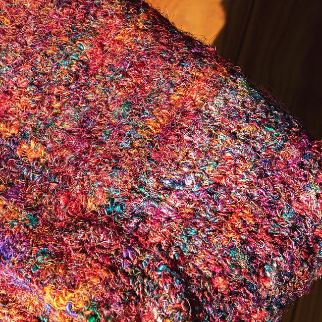 カラフルシルクスレッド 色彩豊かな手編みラグ 8 - 拡大写真です