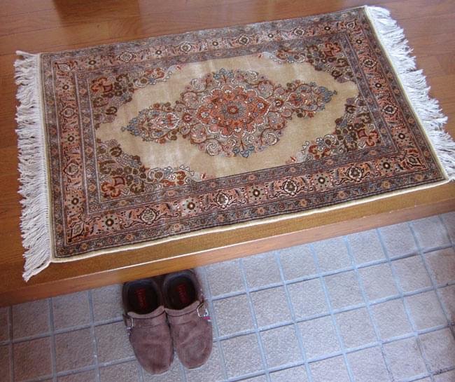 手織り&草木染めカシミール絨毯[シルク100% 1平方インチ484ノット] 3 - 玄関においた所。玄関にピッタリサイズです