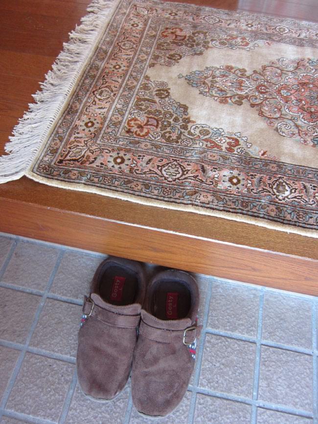 手織り&草木染めカシミール絨毯[シルク100% 1平方インチ484ノット] 4 - 玄関においた所。玄関にピッタリサイズです