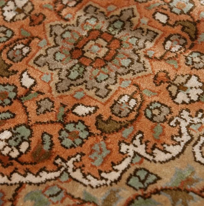 手織り&草木染めカシミール絨毯[シルク100% 1平方インチ484ノット] 8 - 表のアップです。中心のメダリオン部分です