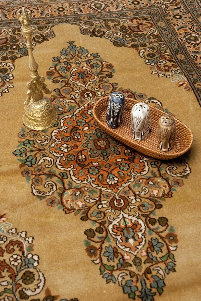 手織り&草木染めカシミール絨毯[シルク100% 1平方インチ484ノット]の写真