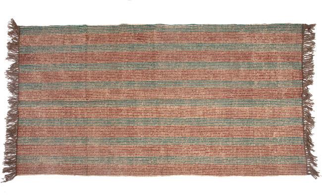 インドのラグ ジュート・ダリー -ストライプ 【約180cm×約120cm】の写真9 - 平置きにして撮影しました