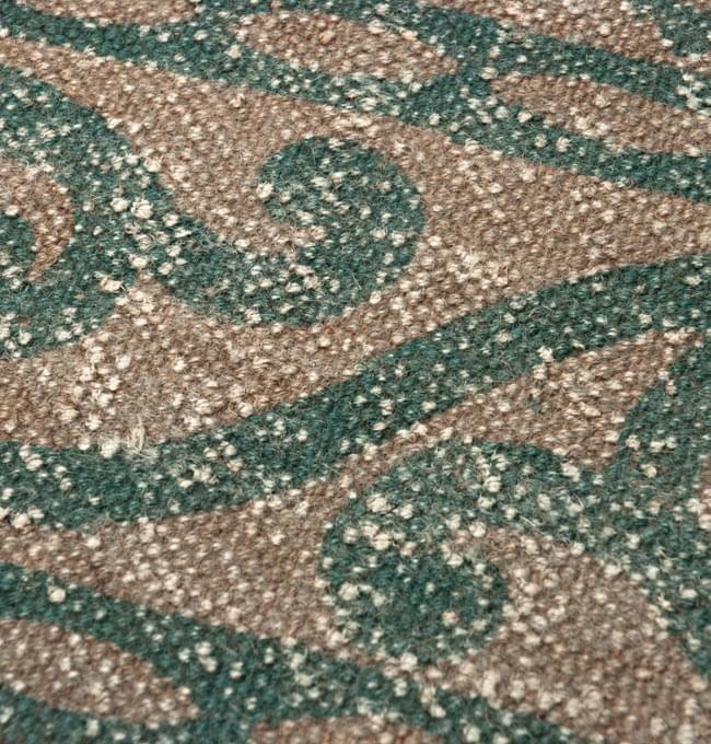 インドのラグ ジュート・ダリー 【約180cm×約120cm】の写真6 - アップにしてみました。インド柄が印刷されています