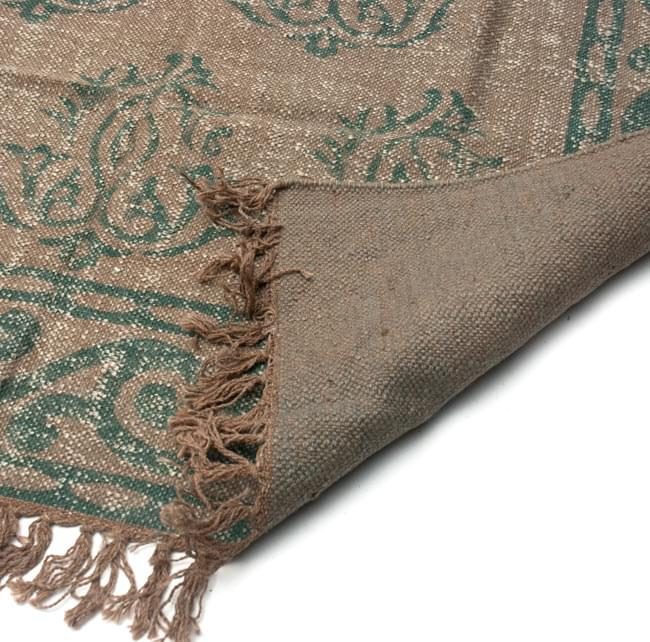 インドのラグ ジュート・ダリー 【約180cm×約120cm】の写真7 - 裏面です。フリンジはウールが使用されています