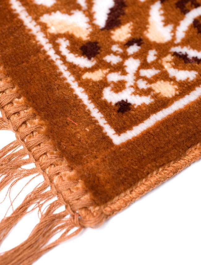 インドのエスニック絨毯 ミニ【約48cm×約50cm】 黄土の写真2 - 縁の部分を写してみました。