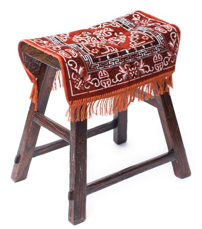 インドのエスニック絨毯 ミニ【約48cm×約50cm】 黄土の写真7 -