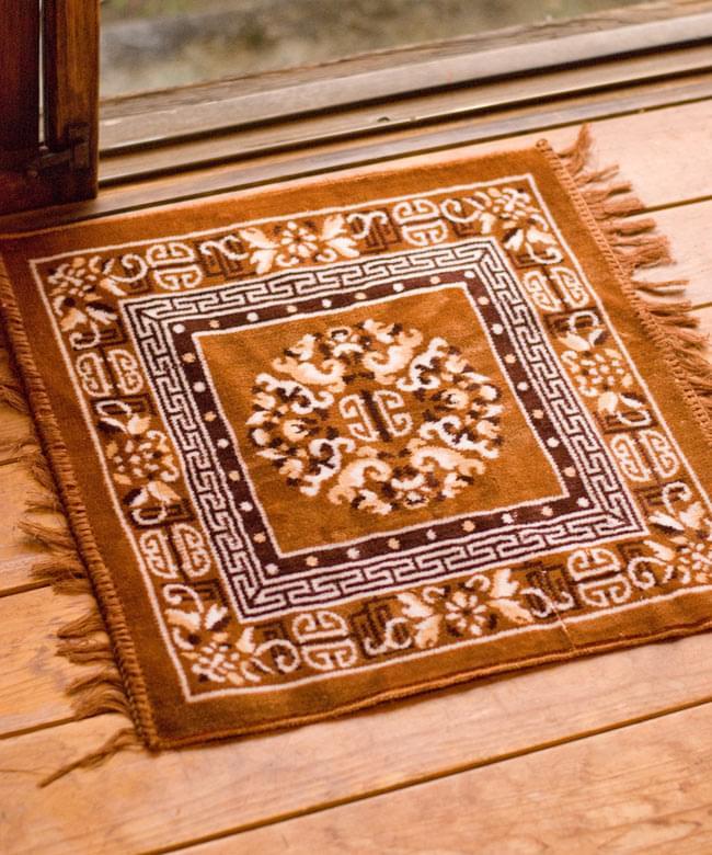 インドのエスニック絨毯 ミニ【約48cm×約50cm】 黄土の写真