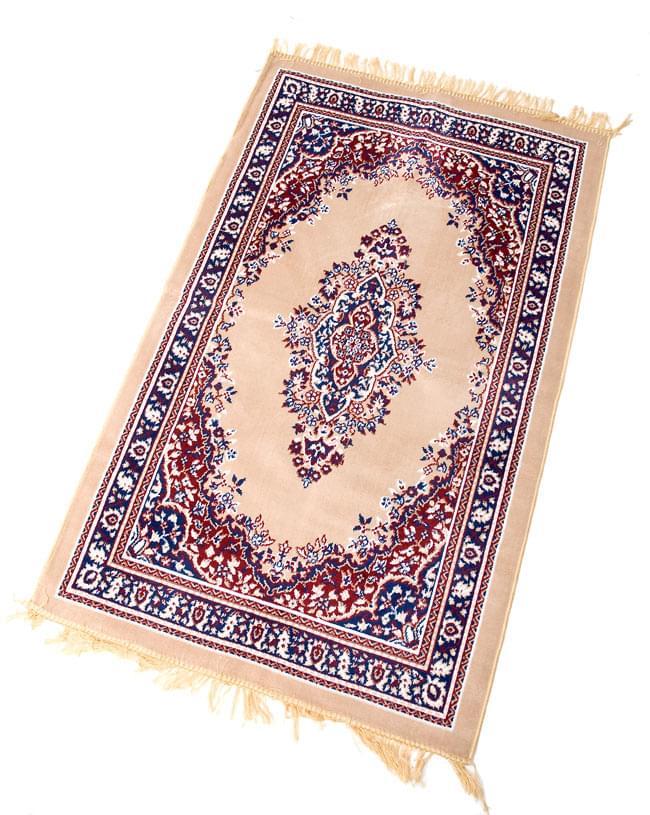 インドのエスニック絨毯 ロング【約110cm×約68cm】 ベージュの写真4 - 全体像です。