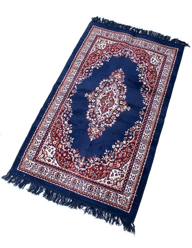 インドのエスニック絨毯 ロング【約110cm×約68cm】 紺の写真4 - 全体像です。