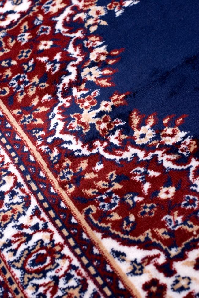 インドのエスニック絨毯 ロング【約110cm×約68cm】 紺の写真7 - 違う箇所を見てみました。
