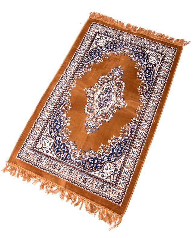 インドのエスニック絨毯 ロング【約110cm×約68cm】 黄土 4 - 全体像です。