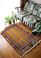 手織りのインド絨毯【約123cm x