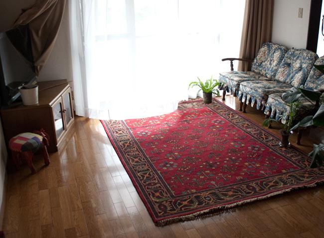 手織りのインド絨毯【約240cm x 約166cm】の写真2 - アングルを変えて撮影しました