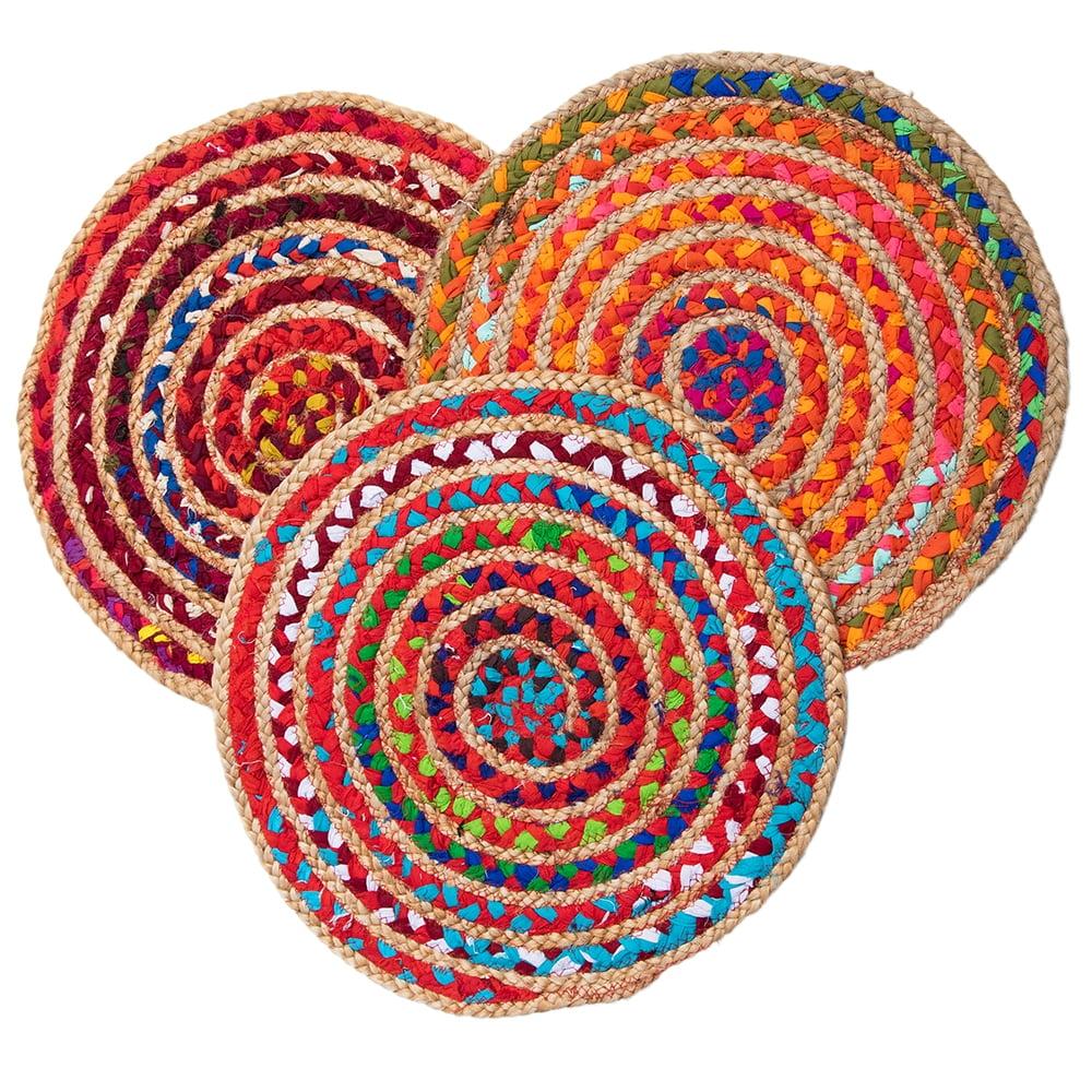 コットンとジュートのカラフル手編みラグ ラウンドタイプ【直径40cm】 12 - 選択1.暖色系