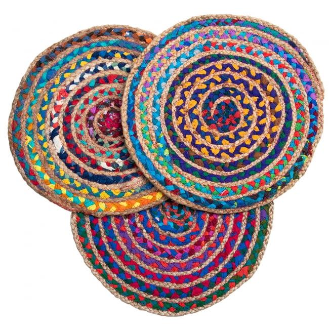 コットンとジュートのカラフル手編みラグ ラウンドタイプ【直径40cm】 13 - 選択2.ミックス