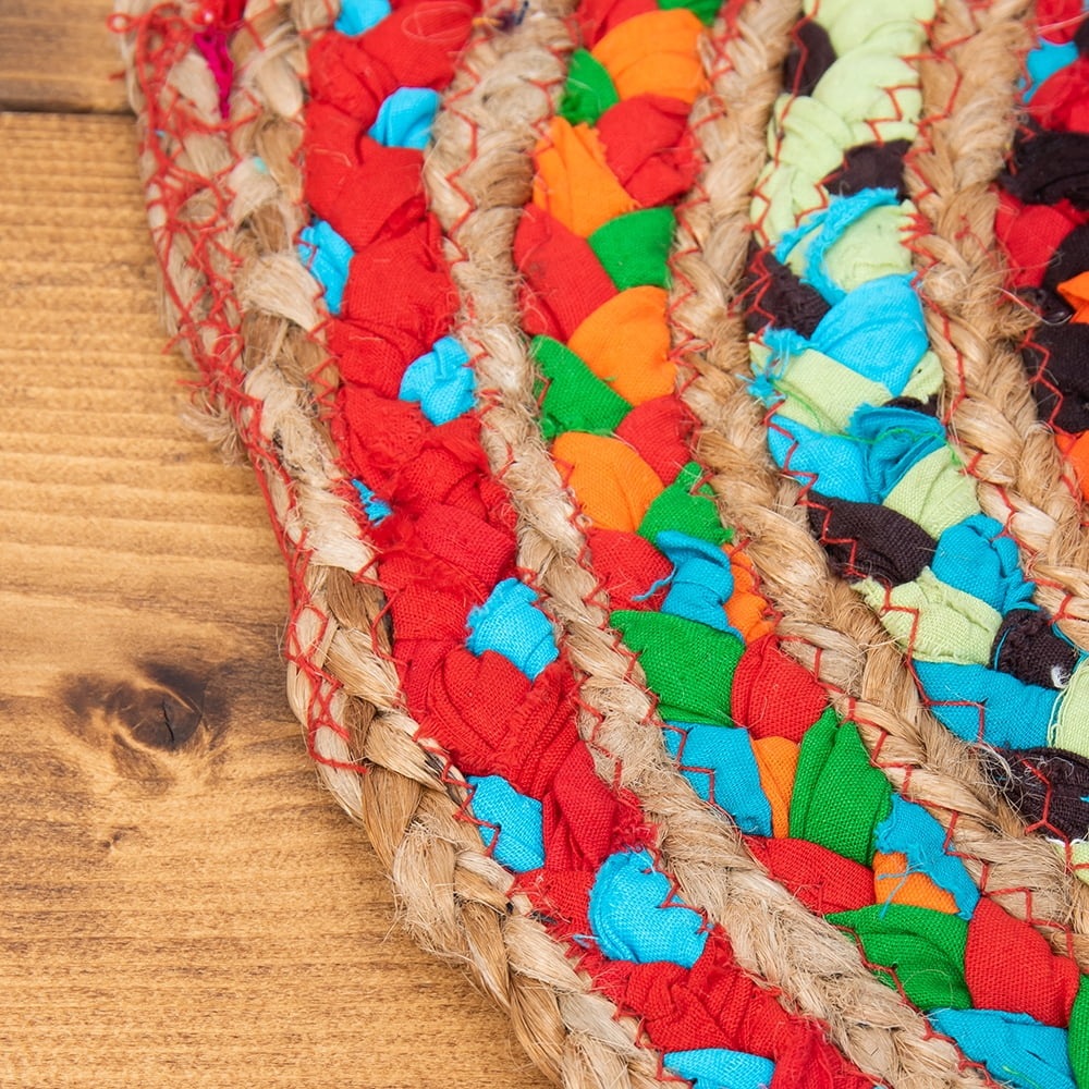 コットンとジュートのカラフル手編みラグ ラウンドタイプ【直径40cm】 4 - 縁の様子です。