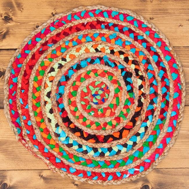 コットンとジュートのカラフル手編みラグ ラウンドタイプ【直径40cm】 7 - 真上から撮ってみました。