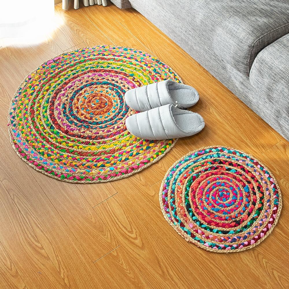 コットンとジュートのカラフル手編みラグ ラウンドタイプ【直径40cm】 9 - サイズ違いの商品がございます。左が直径70cm、右が直径40cmです。