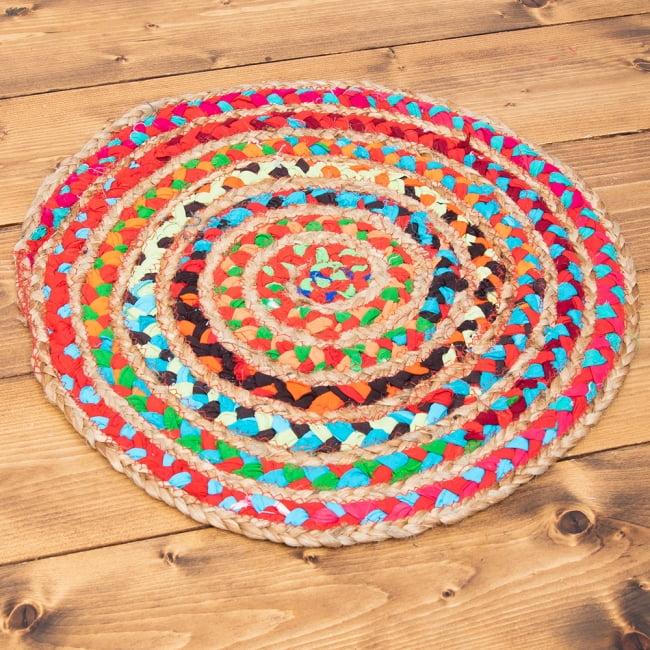 コットンとジュートのカラフル手編みラグ ラウンドタイプ【直径40cm】の写真