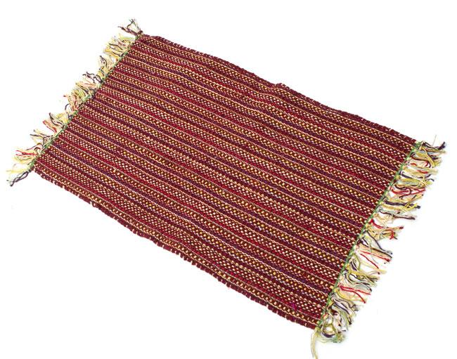 インドコットンの手織りラグマット【約65cm×約42cm】 - 茶色の写真
