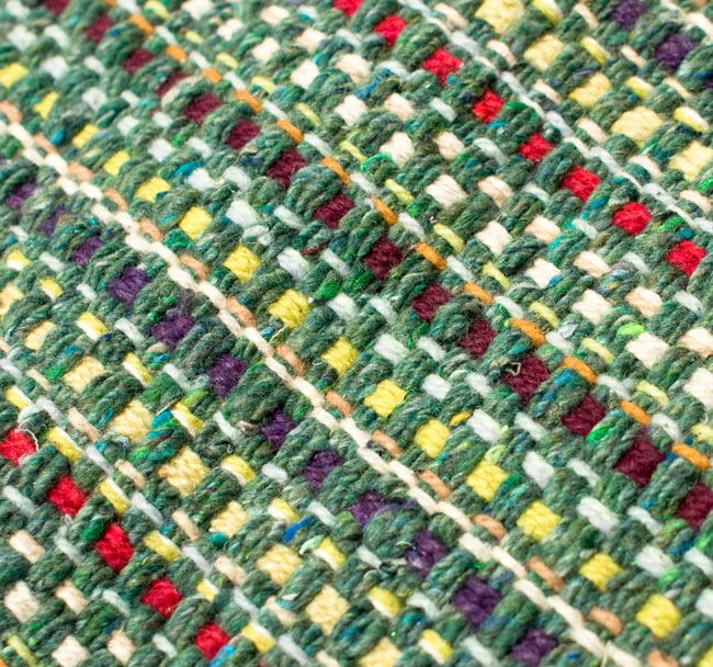 インドコットンの手織りラグマット【約65cm×約42cm】 - アンティークグリーンの写真4 - ラグの表面を撮影しました