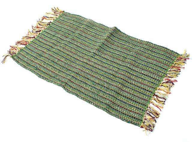 インドコットンの手織りラグマット【約65cm×約42cm】 - アンティークグリーンの写真