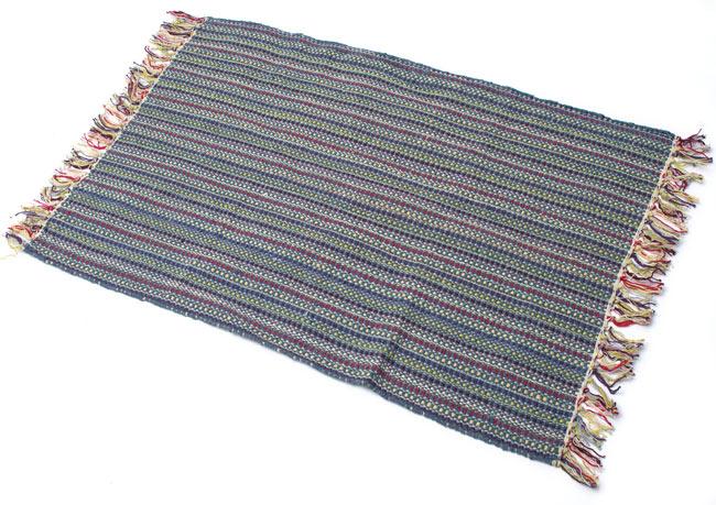 インドコットンの手織りラグマット【約100cm×約60cm】 - 灰色の写真