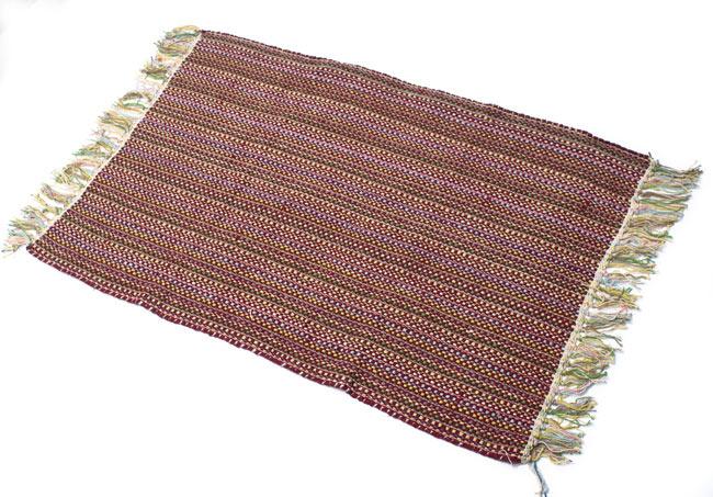 インドコットンの手織りラグマット【約100cm×約60cm】 - 茶色の写真