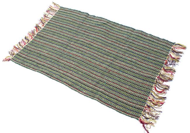 インドコットンの手織りラグマット【約100cm×約60cm】 - 薄緑の写真