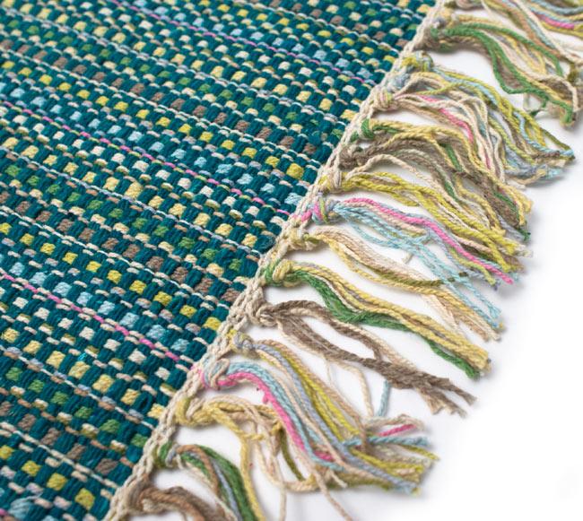 インドコットンの手織りラグマット【約100cm×約60cm】 - ターコイズグリーン の写真3 - フリンジ部分をもっと大きく撮影しました