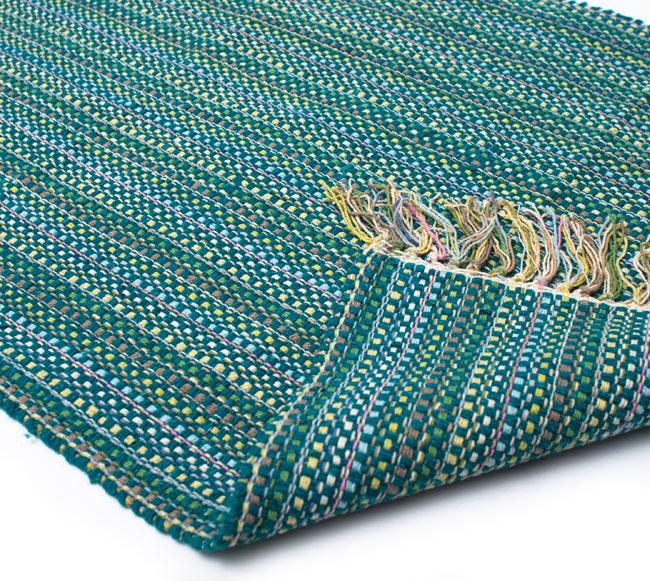 インドコットンの手織りラグマット【約100cm×約60cm】 - ターコイズグリーン の写真8 - 織って作っているラグですので、裏面は同じデザインです
