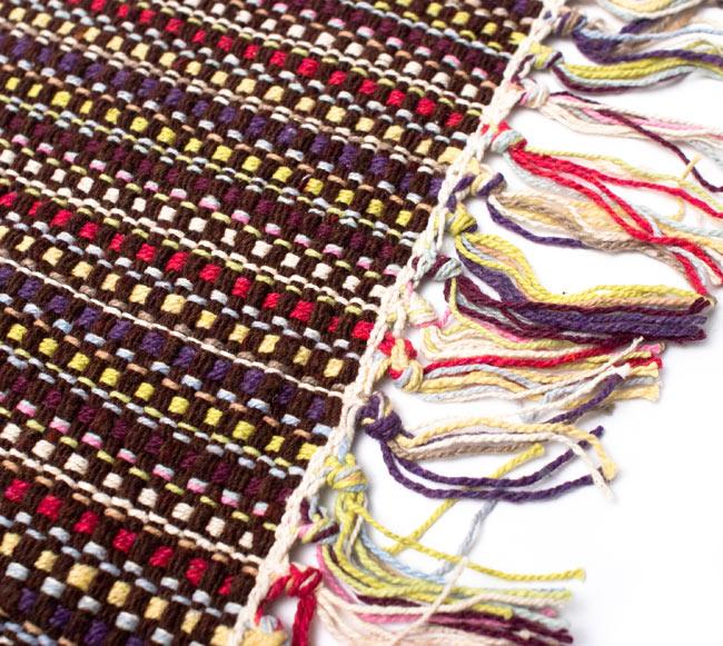 インドコットンの手織りラグマット【約100cm×約60cm】 - 濃茶色の写真3 - フリンジ部分をもっと大きく撮影しました