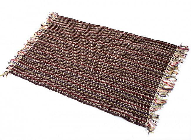 インドコットンの手織りラグマット【約100cm×約60cm】 - 濃茶色の写真