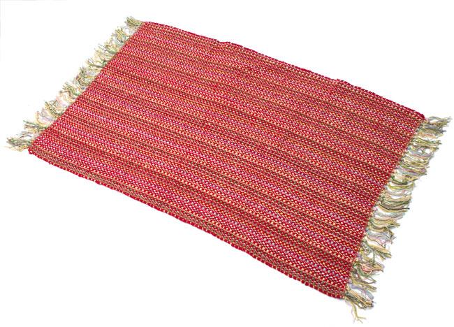 インドコットンの手織りラグマット【約100cm×約60cm】 - 赤の写真