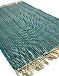 インドコットンの手織りラグマット【約100cm×約60cm】 - アンティークグリーン