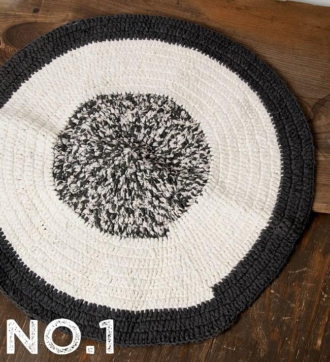 インドのコットン手織りラグマット まる型【ランダムパターン】の写真7 - 選択A