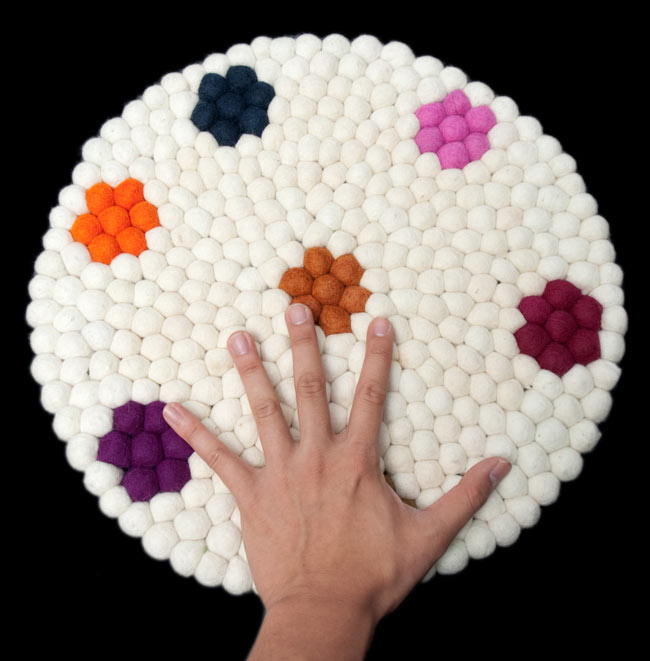 まんまるフェルトルームマット 【直径:42cm】の写真4 - 大きさを感じていただく為、手と比較した写真です。