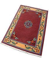 手織りのチベット絨毯【約120cm×