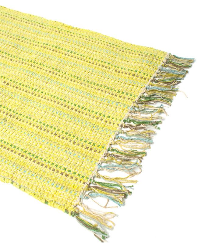 インドコットンの手織りラグマット【約65cm×約42cm】 - 淡黄色の写真2 - ラグのフリンジ部分を大きく撮影しました