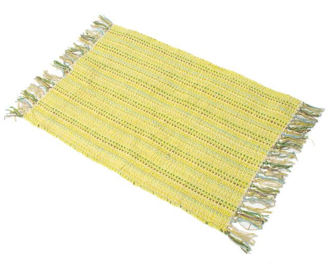 インドコットンの手織りラグマット【約65cm×約42cm】 - 淡黄色の写真