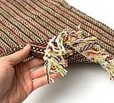 インドコットンの手織りラグマット【約65cm×約42cm】 - 濃茶色