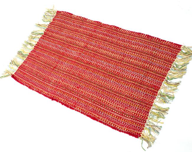 インドコットンの手織りラグマット【約65cm×約42cm】 - 赤の写真