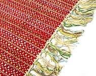 インドコットンの手織りラグマット【約65cm×約42cm】 - 赤