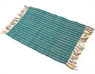 インドコットンの手織りラグマット【約65cm×約42cm】 - ピーコックブルー