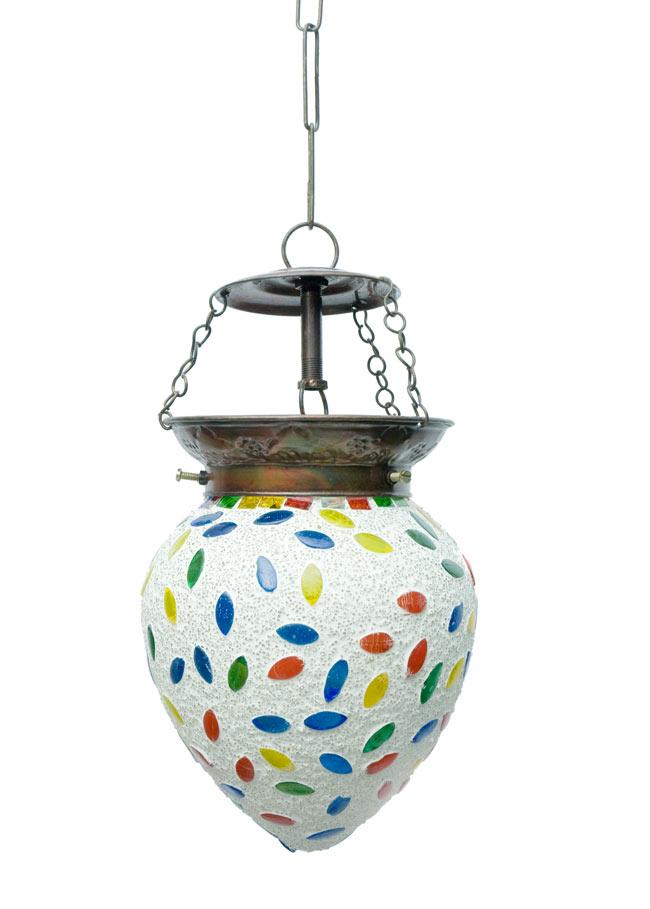 吊り下げモザイクランプ - しずく形 (直径:約12cm) 4 - 明るいところで見てみました。点灯していなくても可愛いです。