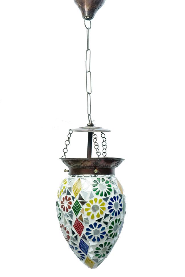 吊り下げモザイクランプ - しずく形 (直径:約12cm)の写真4 - 明るいところで見てみました。点灯していなくても可愛いです。