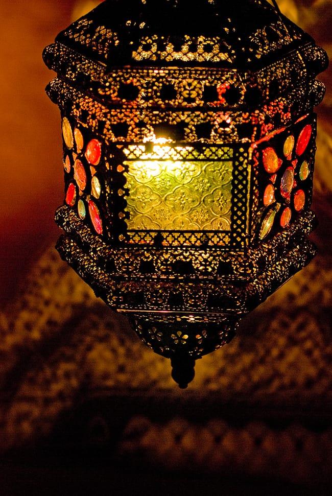 吊り下げアラビアンランプ - 提灯型 6 - 幻想的な世界が広がります。