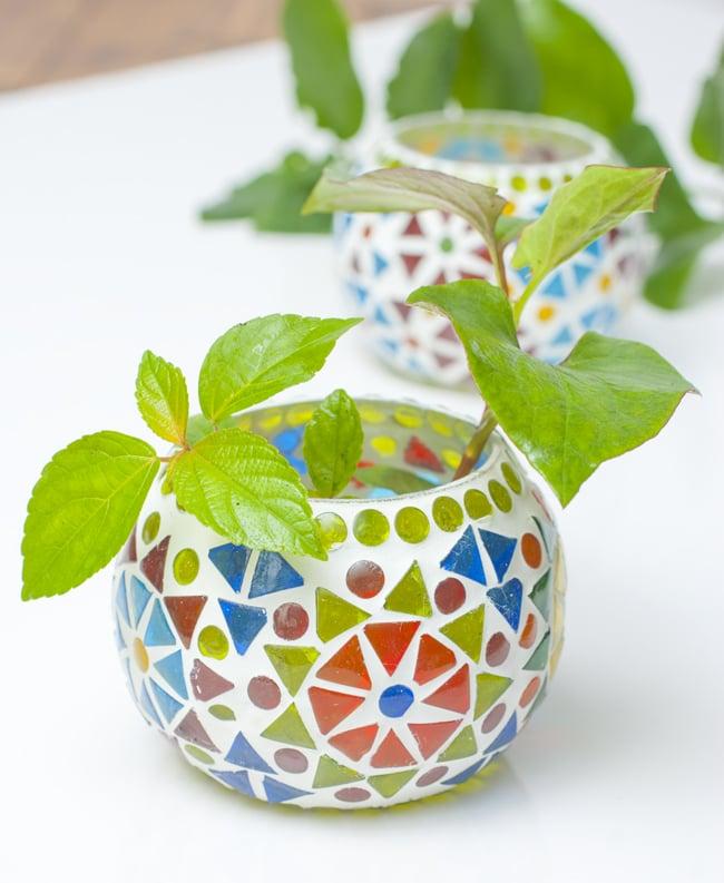 モザイクキャンドルスタンド- 小の写真10 - 植物入れとして用いても素敵です