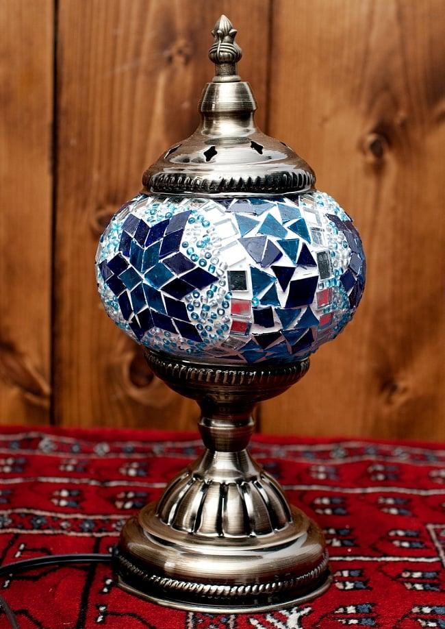 モザイクガラスのアラビアンランプ - 床置の写真2 - 全体写真です。以下は【選択:A】ブルー系星模様の写真になります。